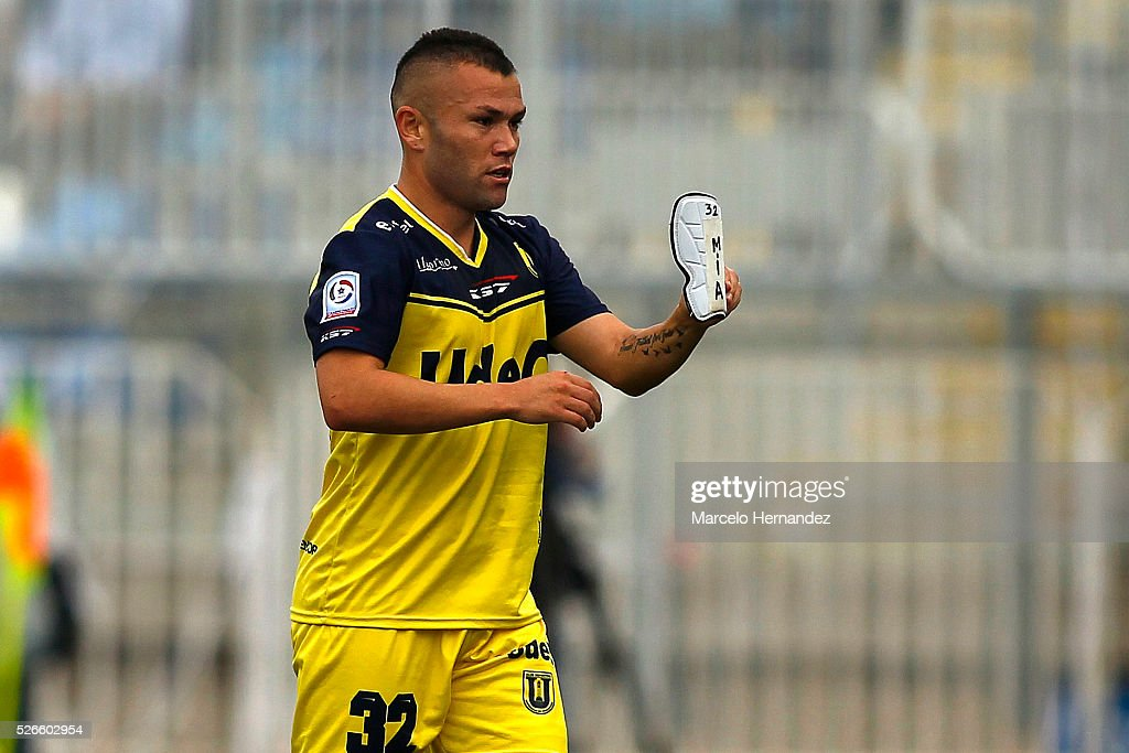 Renato Gonzalez of Universidad de Concepcion celebrates after scoring the first goal of his team during a match between O'Higgins and O'higgins as part of Torneo Clausura 2016 at El Teniente Stadium on April 30, 2016 in Rancagua, Chile.