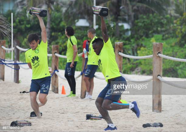 Renato Ibarra of America trains in the sand during the Pre Season training for the Torneo Apertura 2017 Liga MX at Playa del Carmen Beach on June 19...