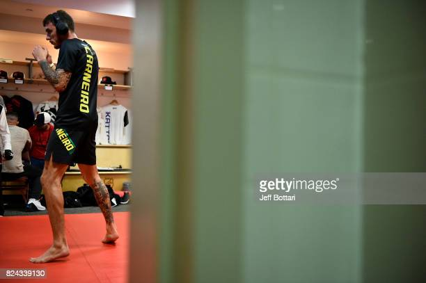 Renato Moicano of Brazil warms up backstage during the UFC 214 event inside the Honda Center on July 29 2017 in Anaheim California