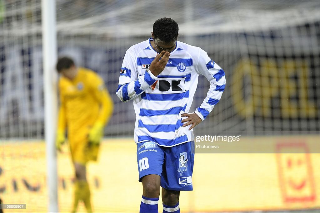 Renato Neto of KAA Gent leaving dejected the pitch after the defeat the Jupiler League match between KAA Gent and Club Brugge on December 22, 2013 at the Ghelamco arena in Gent, Belgium.