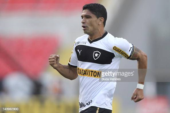 Renato of Botafogo celebrates a scored goal aganist Fluminense during the final first leg match between Botafogo and Fluminense as part of Rio de...