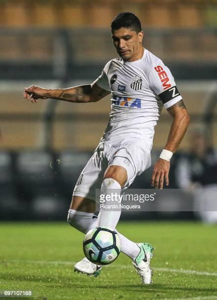 Renato of Santos kicks the ball during the match between Santos and Ponte Preta as a part of Campeonato Brasileiro 2017 at Pacaembu Stadium on June...