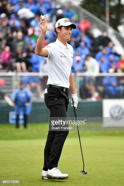Renato Paratore of Italy acknowledges the crowd on the 18th green during day four of the Nordea Masters at Barseback Golf Country Club on June 4 2017...
