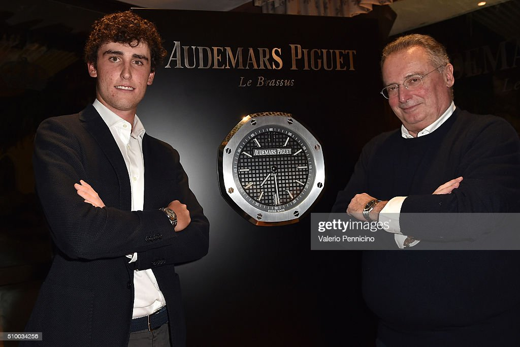 Renato Paratore (L) of Italy and Audemars Piguet Italia CEO Franco Ziviani pose for a photograph during the Audemars Piguet Snow Golf Exhibition 2016 on February 13, 2016 in Courmayeur, Italy.