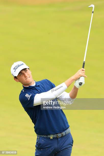 Renato Paratore of Italy hits his second shot on the 1st hole during day one of the AAM Scottish Open at Dundonald Links Golf Course on July 13 2017...