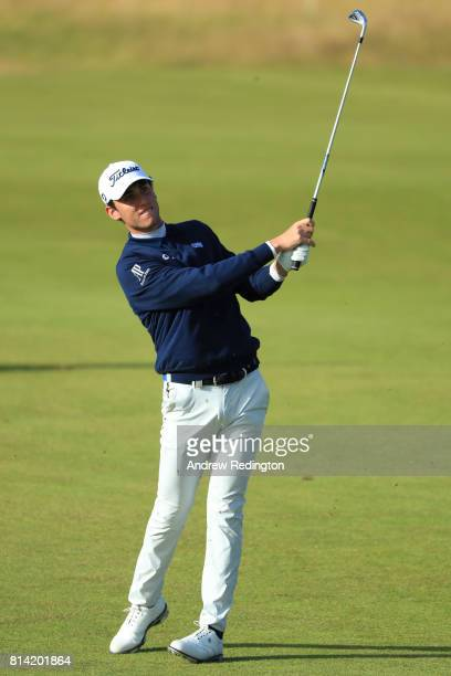 Renato Paratore of Italy hits his second shot on the 1st hole during day two of the AAM Scottish Open at Dundonald Links Golf Course on July 14 2017...