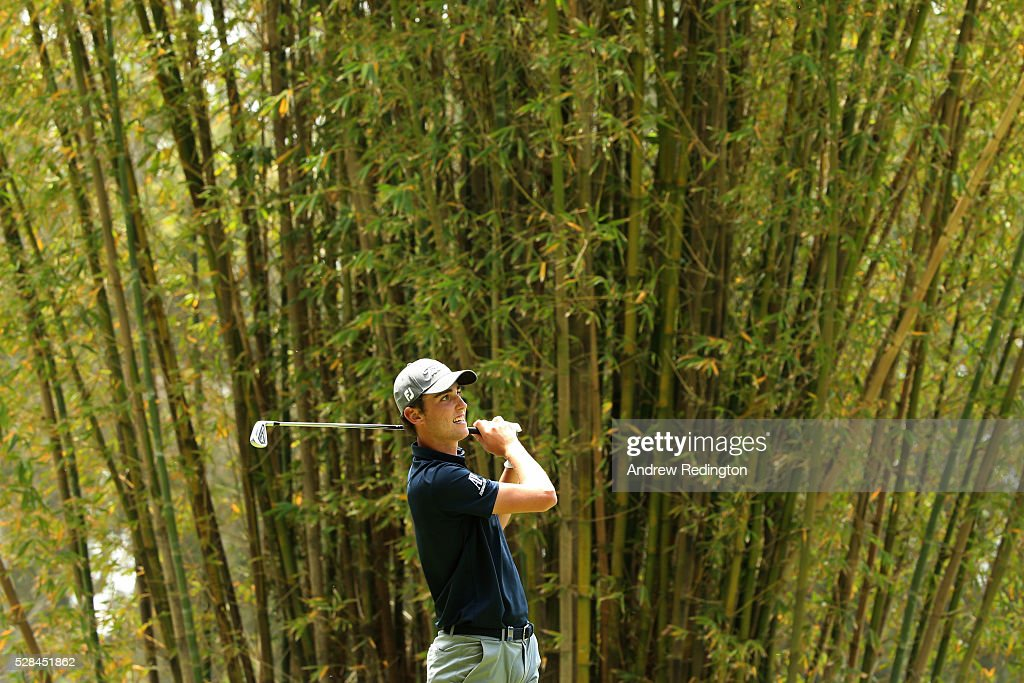 Renato Paratore of Italy hits his tee shot on the 17th during the first round of the Trophee Hassan II at Royal Golf Dar Es Salam on May 5, 2016 in Rabat, Morocco.