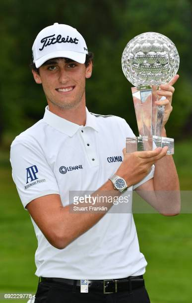 Renato Paratore of Italy holds the winners trophy after winning The Nordea Masters at Barseback Golf Country Club on June 4 2017 in Barsebackshamn...