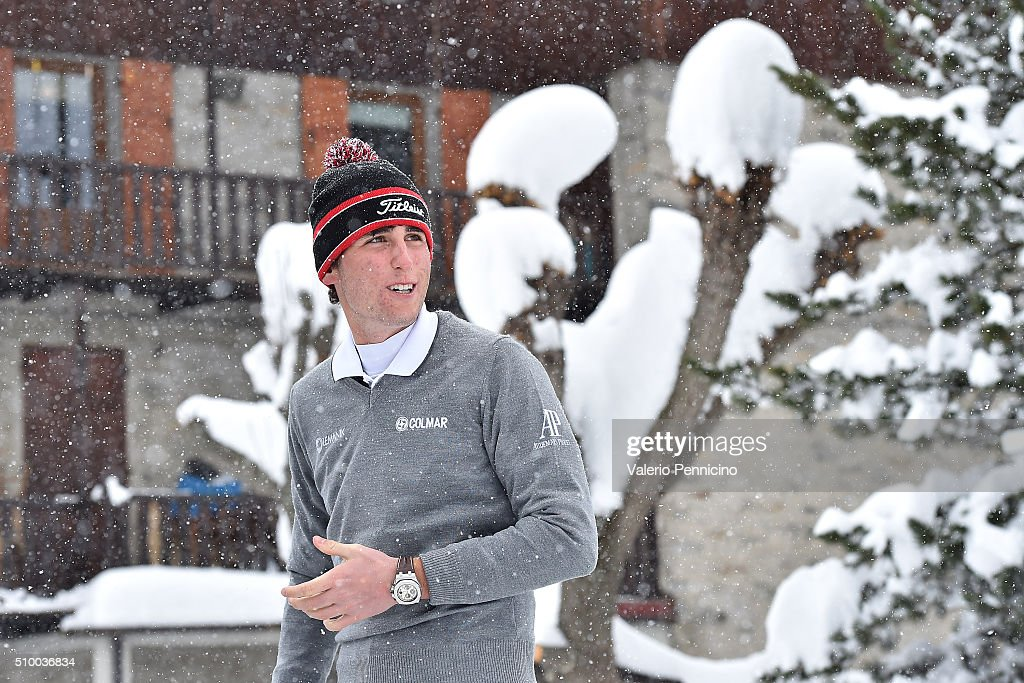 Renato Paratore of Italy looks on during the Audemars Piguet Snow Golf Exhibition 2016 on February 13, 2016 in Courmayeur, Italy.