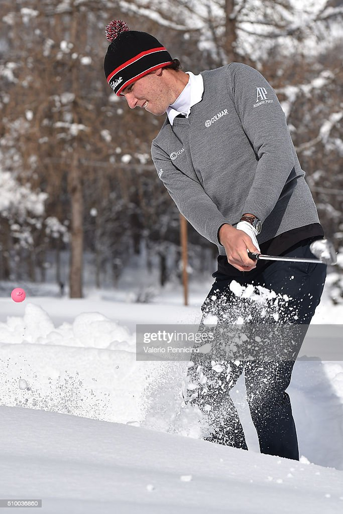 Renato Paratore of Italy plays a shot during the Audemars Piguet Snow Golf Exhibition 2016 on February 13, 2016 in Courmayeur, Italy.