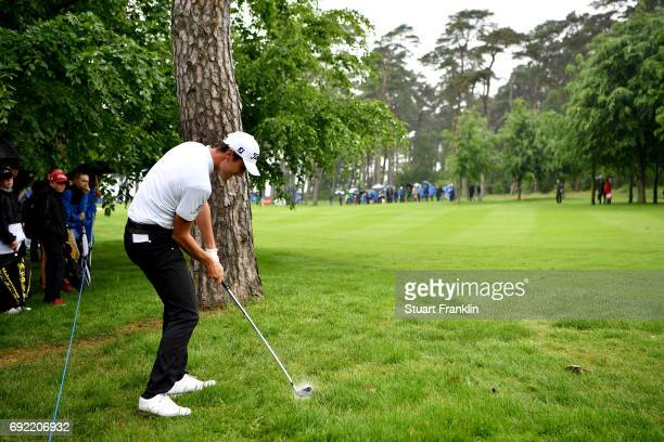 Renato Paratore of Italy plays a shot from the rough on the 17th hole during day four of the Nordea Masters at Barseback Golf Country Club on June 4...