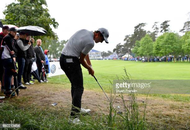 Renato Paratore of Italy plays a shot from the rough on the 18th hole during day four of the Nordea Masters at Barseback Golf Country Club on June 4...