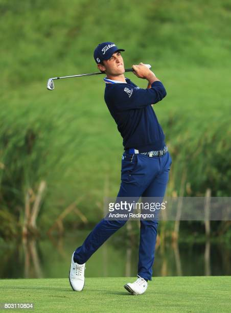 Renato Paratore of Italy plays his second shot on the 10th hole during day one of the HNA Open de France at Le Golf National on June 29 2017 in Paris...