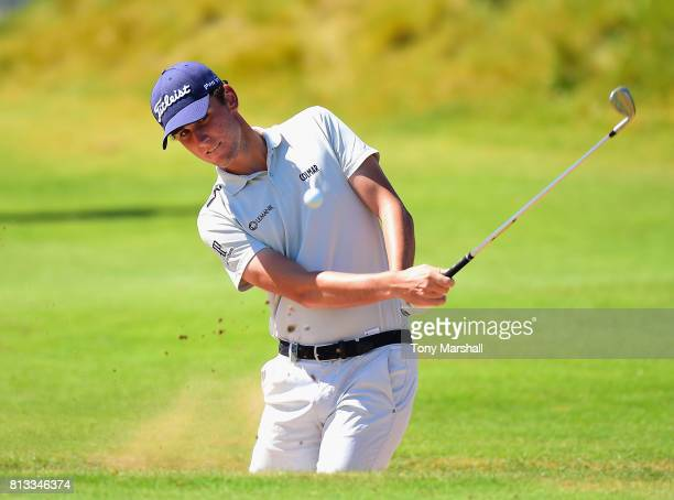 Renato Paratore of Italy plays out of a bunker on the Chipping Green during the AAM Scottish Open at Dundonald Links Golf Course on July 12 2017 in...