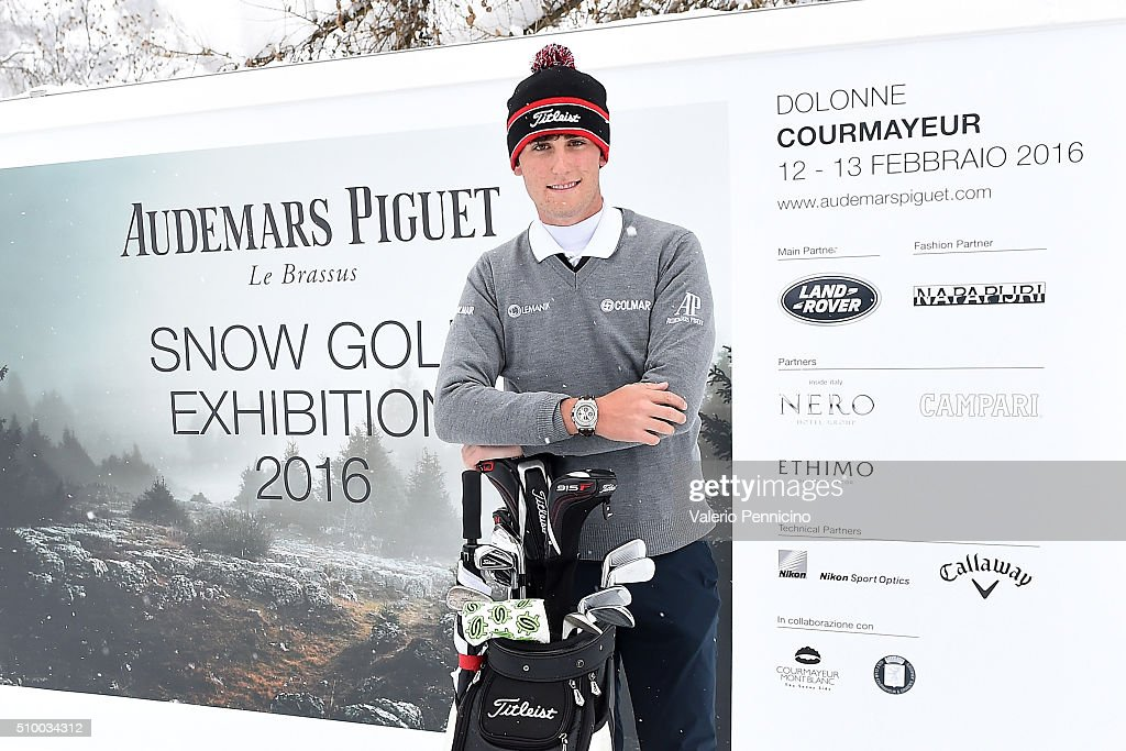 Renato Paratore of Italy pose for a photograph during the Audemars Piguet Snow Golf Exhibition 2016 on February 13, 2016 in Courmayeur, Italy.