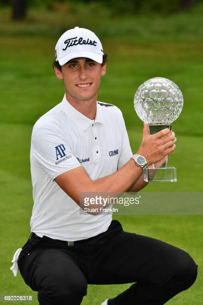 Renato Paratore of Italy poses with the trophy after his victory during day four of the Nordea Masters at Barseback Golf Country Club on June 4 2017...