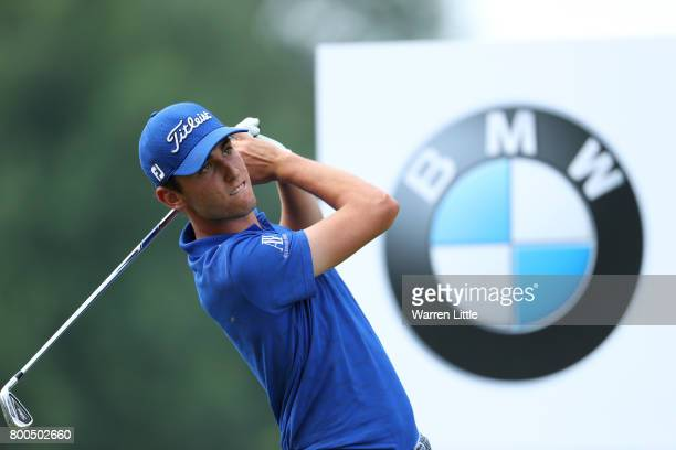 Renato Paratore of Italy tees off on the 2nd hole during day three of the BMW International Open at Golfclub Munchen Eichenried on June 24 2017 in...