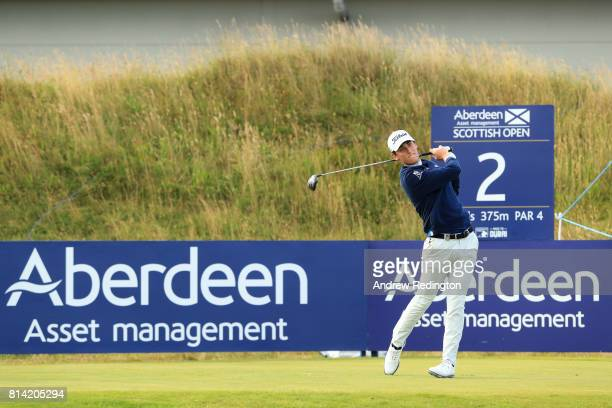 Renato Paratore of Italy tees off on the 2nd hole during day two of the AAM Scottish Open at Dundonald Links Golf Course on July 14 2017 in Troon...