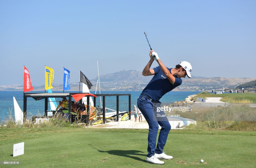 Renato Paratore of Itlay plays a shot on the 16th hole during the second round of The Rocco Forte Open at The Verdura Golf and Spa Resort on May 19, 2017 in Sciacca, Italy.