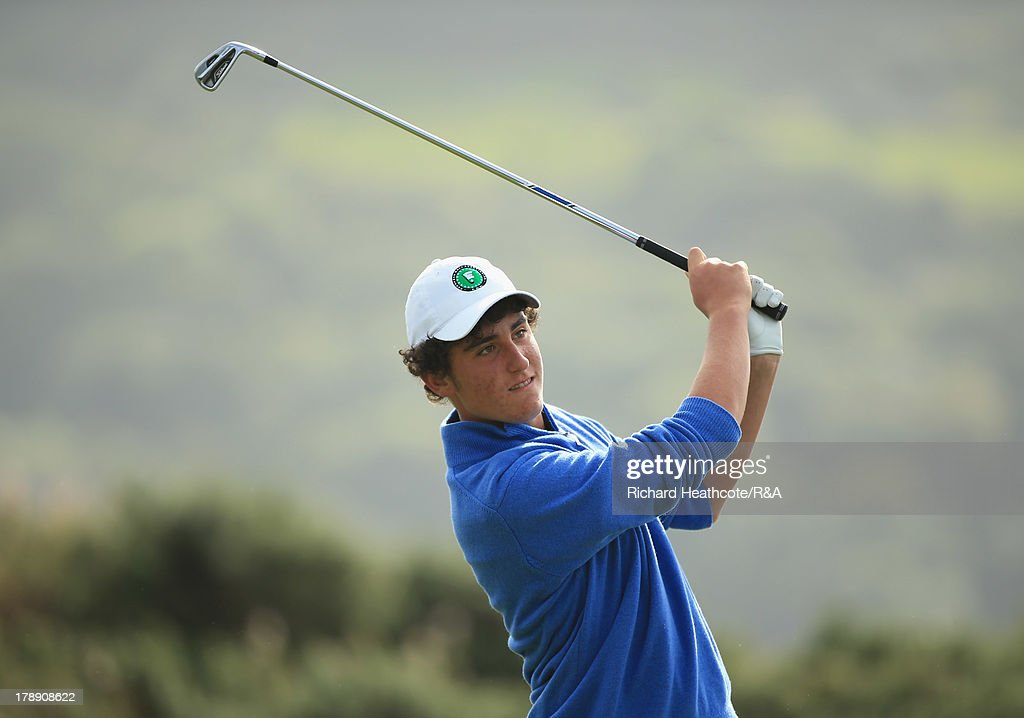 Renato Paratore of the Continent of Europe in action during the second day of the Jacques Leglise Trophy at Royal St David's Golf Club on August 31, 2013 in Harlech, Wales.