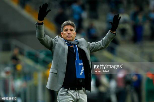 Renato Portaluppi coach of Gremio during the match between Gremio and Bahia as part of Brasileirao Series A 2017 at Arena do Gremio on June 12 in...