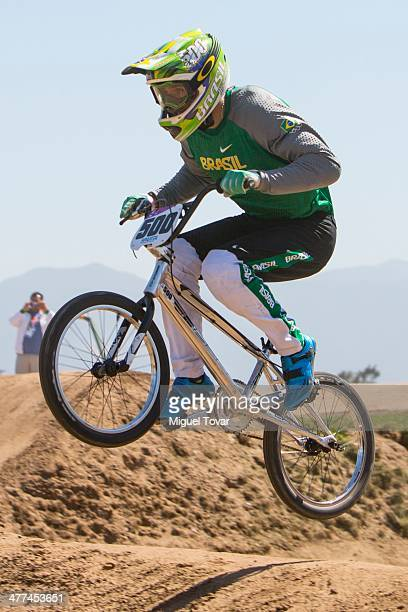 Renato Rezende of Brazil competes in men's BMX final event during day three of the X South American Games Santiago 2014 at Pista BMX Santiago 2014 on...