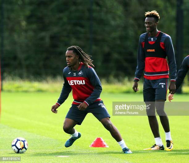 Renato Sanches and Tammy Abraham in action during the Swansea City Training at The Fairwood Training Ground on September 08 2017 in Swansea Wales