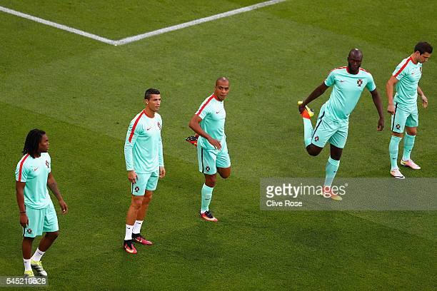 Renato Sanches Cristiano Ronaldo Joao Mario Danilo Pereira and Joao Moutinho of Portugal take part in the warmup before the UEFA EURO 2016 semi final...