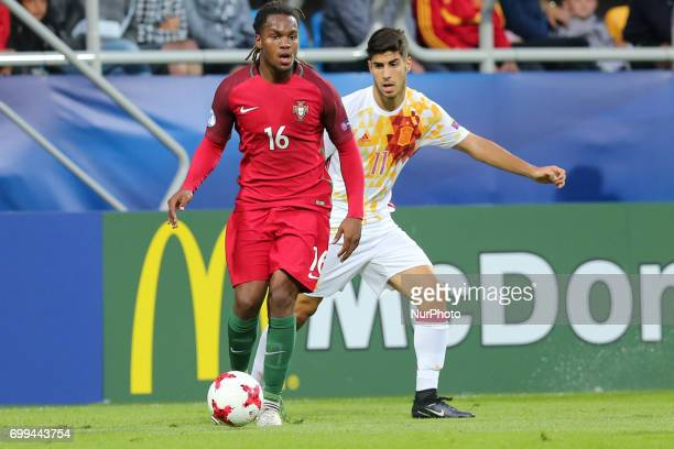 Renato Sanches Marco Asensio during their UEFA European Under21 Championship match against Portugal on June 20 2017 in Gdynia Poland