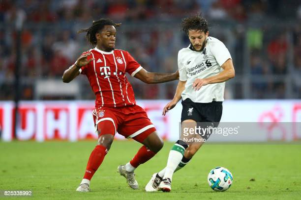Renato Sanches of Bayern and Adam Lallana of Liverpool during the Audi Cup 2017 match between Bayern Muenchen and Liverpool FC at Allianz Arena on...