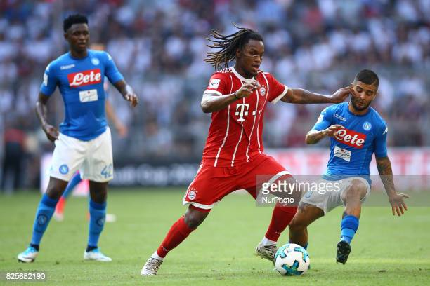 Renato Sanches of Bayern and Lorenzo Insigne of Napoli during the Audi Cup 2017 match between SSC Napoli v FC Bayern Muenchen at Allianz Arena on...