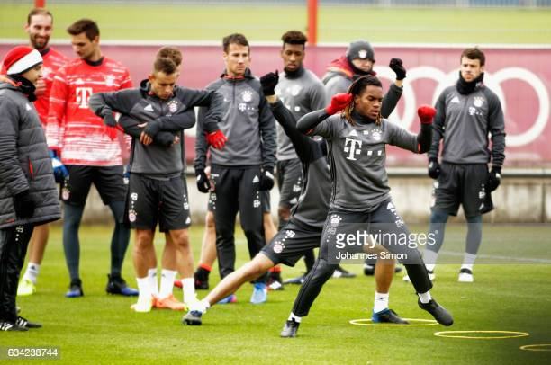 Renato Sanches of Bayern and team mates participate in a FC Bayern Muenchen training session at Saebener Strasse on February 8 2017 in Munich Germany