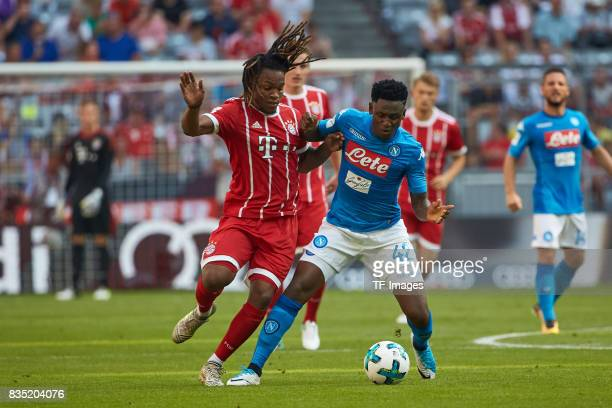 Renato Sanches of Bayern Muenchen and Amadou Diawara of Napoli battle for the ball during the Audi Cup 2017 match between SSC Napoli and FC Bayern...
