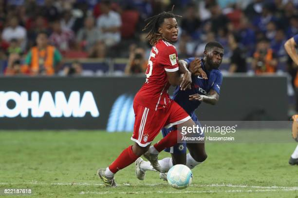 Renato Sanches of Bayern Muenchen battles for the ball with Jeremie Boga of Chelsea during the International Champions Cup 2017 match between Bayern...