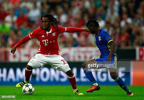 Renato Sanches of Bayern Muenchen is closed down by Moussa Doumbia of FC Rostov during the UEFA Champions League Group D match between FC Bayern...