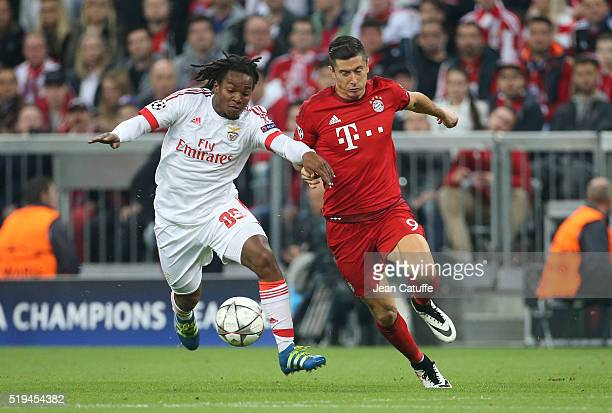 Renato Sanches of Benfica and Robert Lewandowski of Bayern Muenchen in action during the UEFA Champions League quarter final first leg match between...