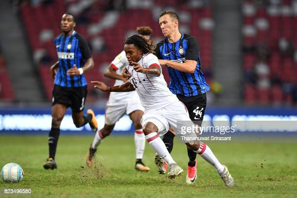 Renato Sanches of FC Bayern Muenchen and Ivan Perisic of FC Interernazionale competes for the ball during the International Champions Cup match...