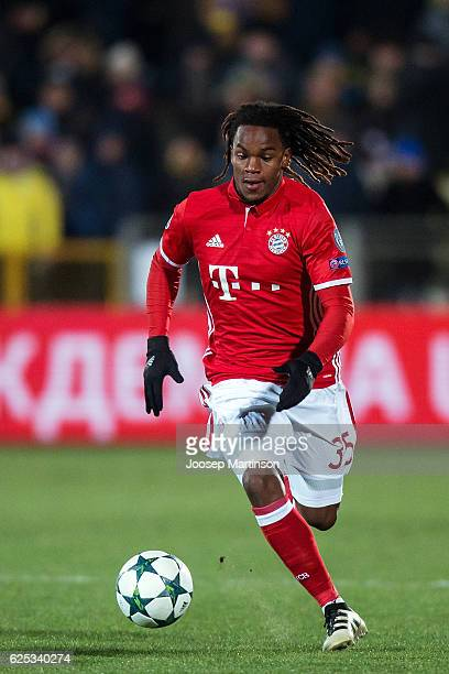 Renato Sanches of FC Bayern Muenchen controls the ball during the UEFA Champions League match between FC Rostov and Bayern Muenchen at Olimp2 on...