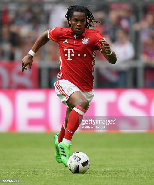 Renato Sanches of FC Bayern Muenchen controls the ball during the Bundesliga match between Bayern Muenchen and FC Augsburg at Allianz Arena on April...