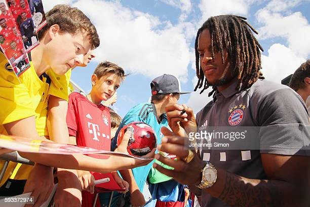 Renato Sanches of FC Bayern signs autographs during the official car handover at Audi Forum on August 22 2016 in Ingolstadt Germany
