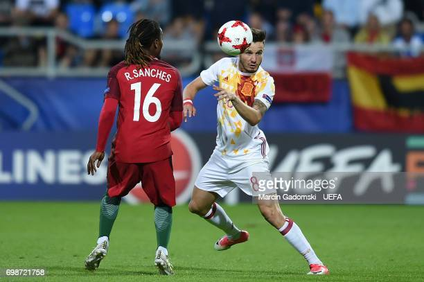 Renato Sanches of Portugal and Saul Niguez of Spain during their UEFA European Under21 Championship match on June 20 2017 in Gdynia Poland