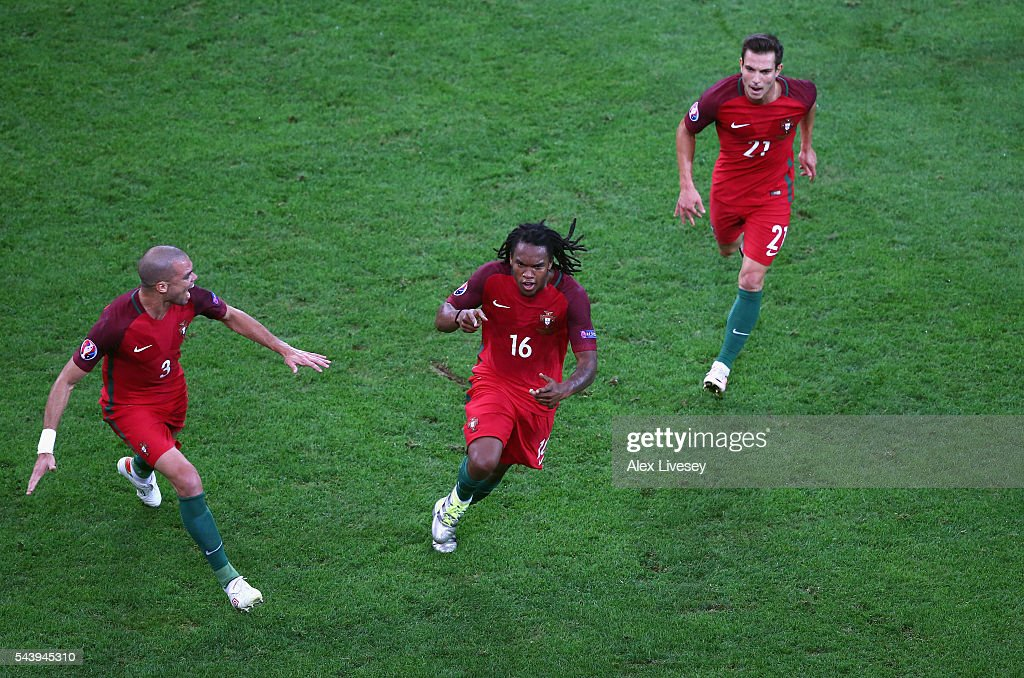 <a gi-track='captionPersonalityLinkClicked' href=/galleries/search?phrase=Renato+Sanches&family=editorial&specificpeople=12513402 ng-click='$event.stopPropagation()'>Renato Sanches</a> (C) of Portugal celebrates scoring his team's first goal with his team mates <a gi-track='captionPersonalityLinkClicked' href=/galleries/search?phrase=Pepe+-+Portuguese+Soccer+Player&family=editorial&specificpeople=4401229 ng-click='$event.stopPropagation()'>Pepe</a> (L) and Cedric Soares (R) during the UEFA EURO 2016 quarter final match between Poland and Portugal at Stade Velodrome on June 30, 2016 in Marseille, France.