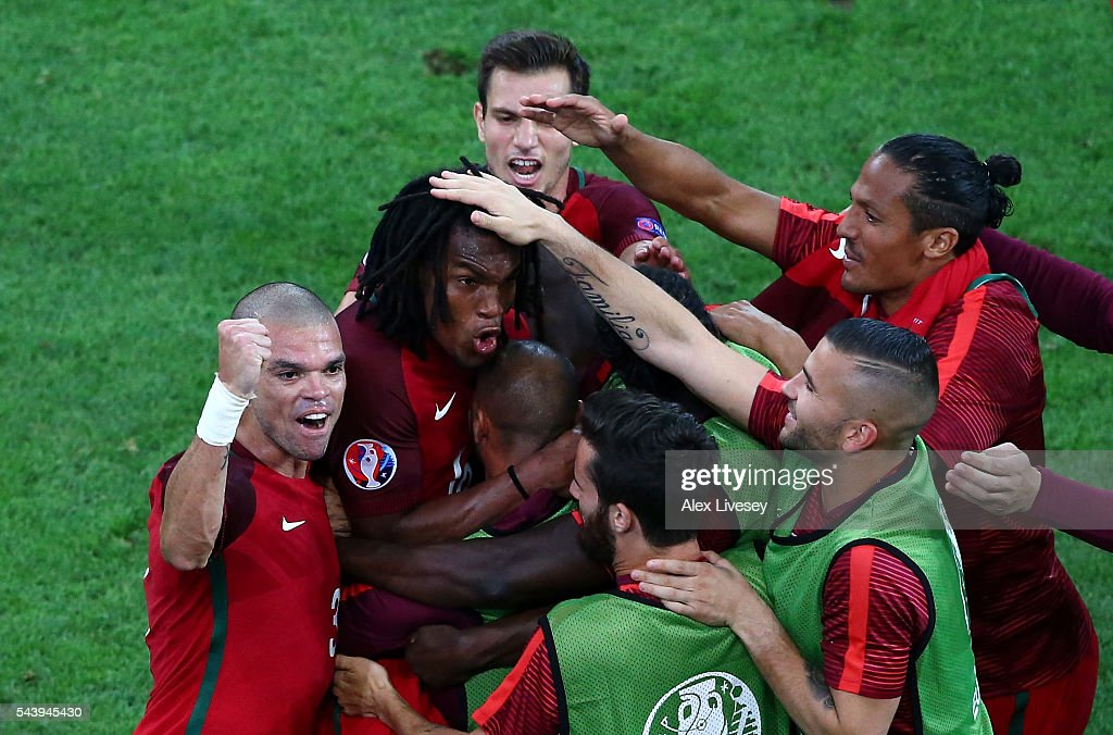 <a gi-track='captionPersonalityLinkClicked' href=/galleries/search?phrase=Renato+Sanches&family=editorial&specificpeople=12513402 ng-click='$event.stopPropagation()'>Renato Sanches</a> (2nd L) of Portugal celebrates scoring his team's first goal with his team mates during the UEFA EURO 2016 quarter final match between Poland and Portugal at Stade Velodrome on June 30, 2016 in Marseille, France.