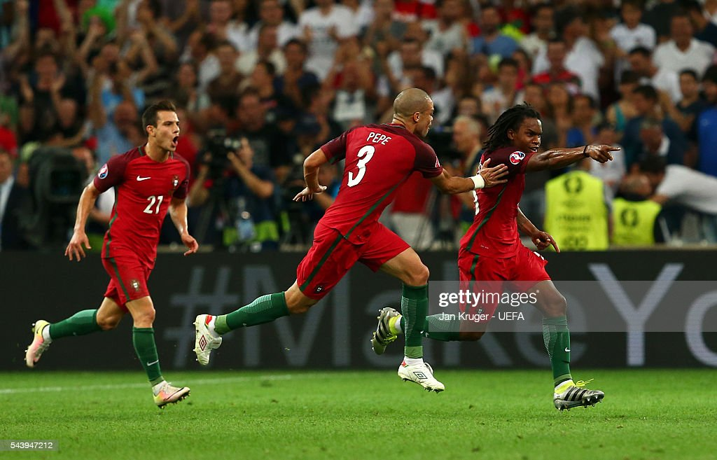 Renato Sanches (R) of Portugal celebrates scoring his team's first goal with his team mate Pepe (C) and Cedric Soares (L) during the UEFA EURO 2016 quarter final match between Poland and Portugal at Stade Velodrome on June 30, 2016 in Marseille, France.