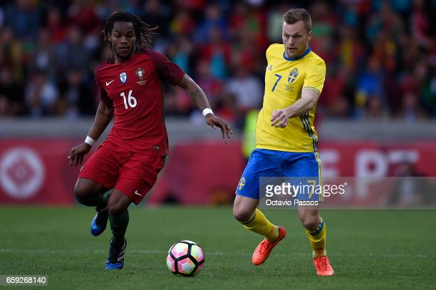 Renato Sanches of Portugal competes for the ball with Sebastian Larsson of Sweden during the International friendly match between Portugal and Sweden...