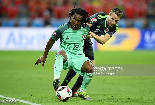 Renato Sanches of Portugal controls the ball under pressure of Chris Gunter of Wales during the UEFA EURO 2016 semi final match between Portugal and...