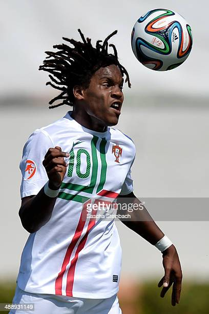 Renato Sanches of Portugal heads the ball during the UEFA Under17 European Championship 2014 group B match between Scotland and Portugal at Gozo...