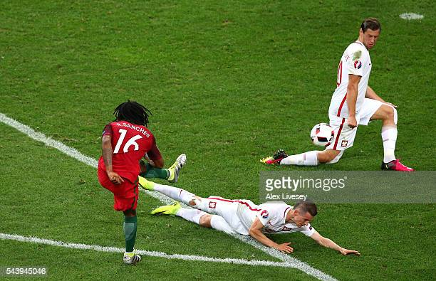 Renato Sanches of Portugal scores his team's first goal during the UEFA EURO 2016 quarter final match between Poland and Portugal at Stade Velodrome...