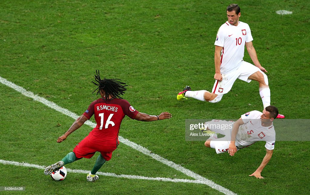<a gi-track='captionPersonalityLinkClicked' href=/galleries/search?phrase=Renato+Sanches&family=editorial&specificpeople=12513402 ng-click='$event.stopPropagation()'>Renato Sanches</a> of Portugal scores his team's first goal during the UEFA EURO 2016 quarter final match between Poland and Portugal at Stade Velodrome on June 30, 2016 in Marseille, France.