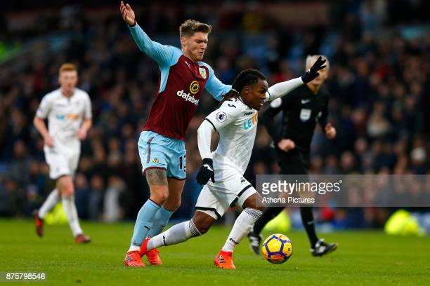 Renato Sanches of Swansea City and Jeff Hendrick of Burnley during the Premier League match between Burnley and Swansea City at Turf Moor on November...